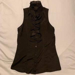 The Limited chocolate brown ruffle button up tank